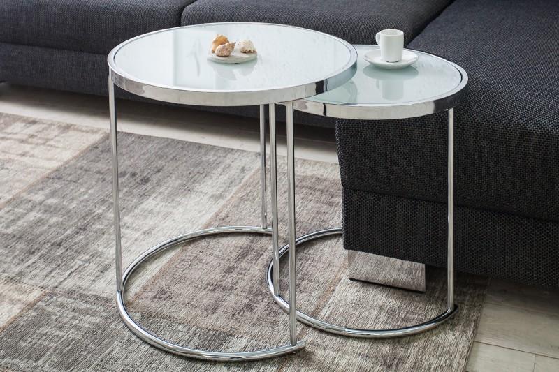 Konferenční stolek Art Deco 2ks - chrom, bílá / 36722