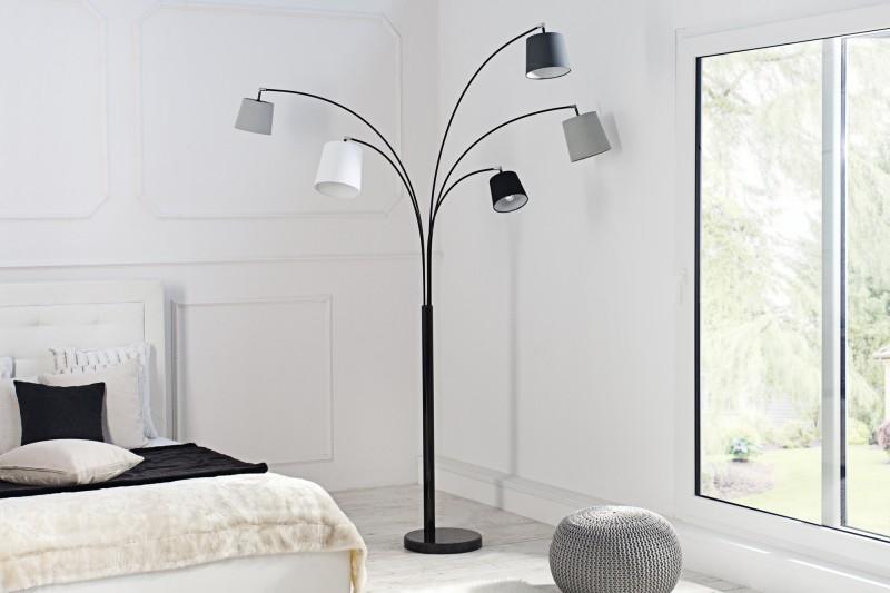Stojací lampa Friida - černá, šedá, bílá / 36398