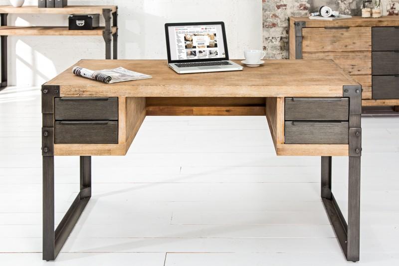 Pracovní stůl 135 cm akát teak šedý / 36768