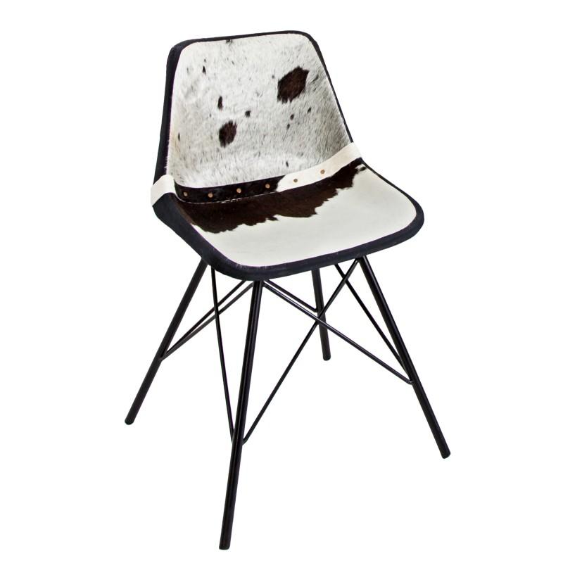 stuhl toro schwarz weiss echtfell 36817 5381. Black Bedroom Furniture Sets. Home Design Ideas
