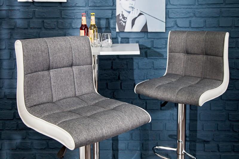 Barová židle Modena 90-115cm šedá bílá / 36829