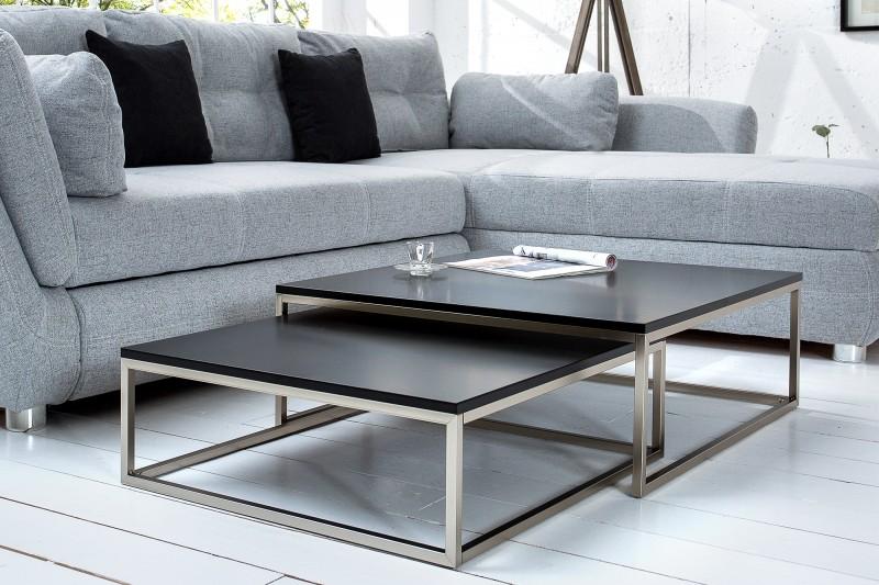 Konferenční stolek Juliet 2ks - černý, chrom / 37118
