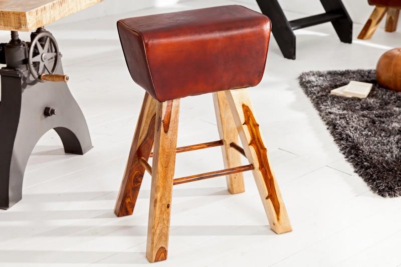 Barová židle Bock - hnědá kůže / 36815