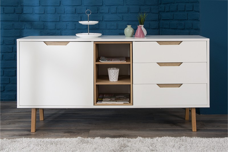 sideboard nordic 150cm weiss eiche 36806 5591. Black Bedroom Furniture Sets. Home Design Ideas