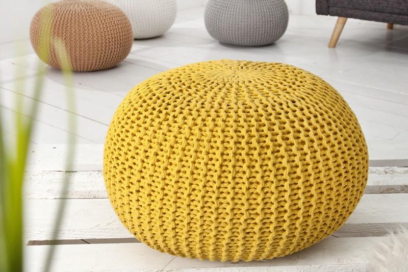 Podnožka Leeds 50cm - žlutá, pletená / 37319