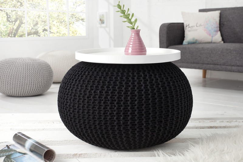 Podnožka Leeds 50cm - černá, pletená / 37320 - 2ks skladem