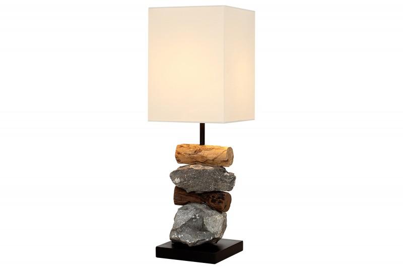 Stolní lampa vyrobená z prvků naplaveného dříví bílá / 36968