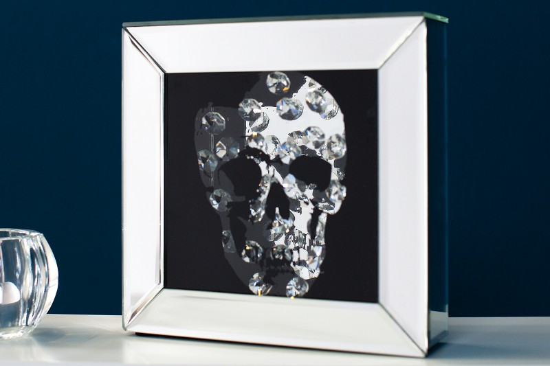 Zrcadlový lebka diamant 20x20cm / 36773