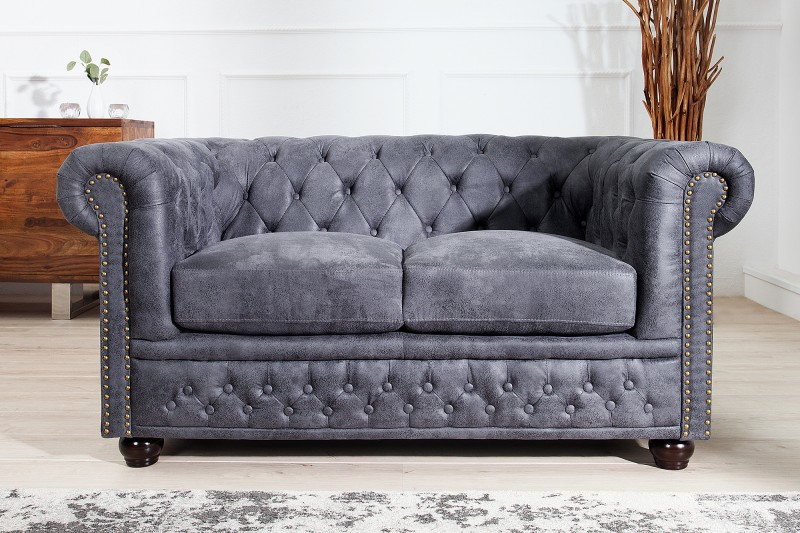 sofa chesterfield 2er grau antik look 37390 5527. Black Bedroom Furniture Sets. Home Design Ideas