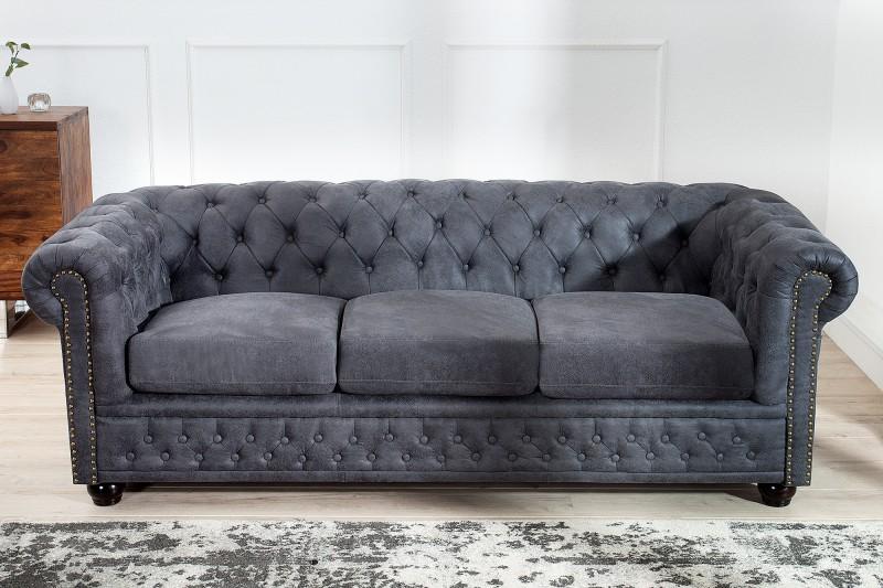 sofa chesterfield 3er grau antik look 37391 5528. Black Bedroom Furniture Sets. Home Design Ideas