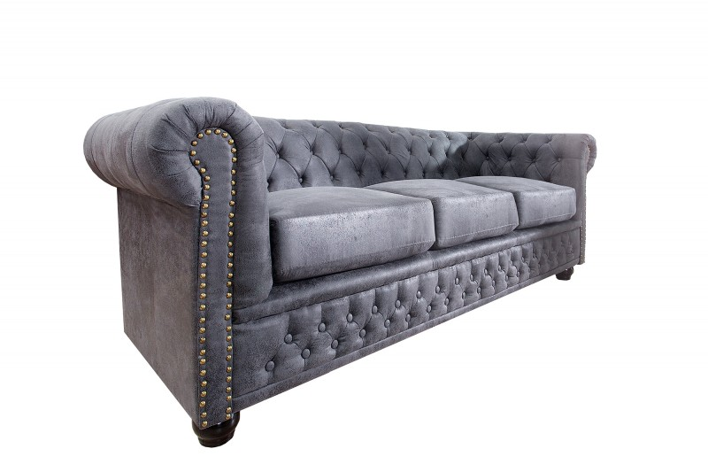 sofa chesterfield 3er grau antik look 37391 5528. Black Bedroom Furniture Sets. Home Design Ideas