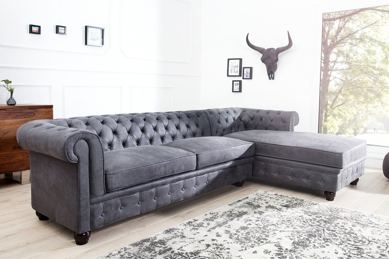 ecksofa chesterfield grau antik ot rechts 37388 5529. Black Bedroom Furniture Sets. Home Design Ideas