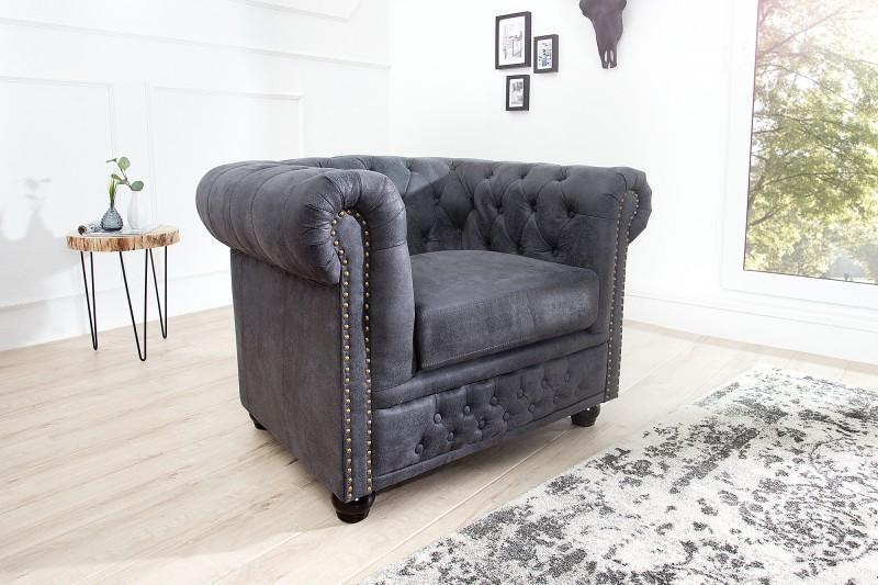 sessel chesterfield grau antik look 37389 5526. Black Bedroom Furniture Sets. Home Design Ideas