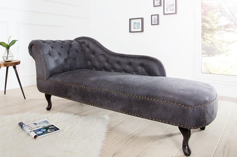 Lenoška Chesterfield 175cm - starožitná šedá / 37475