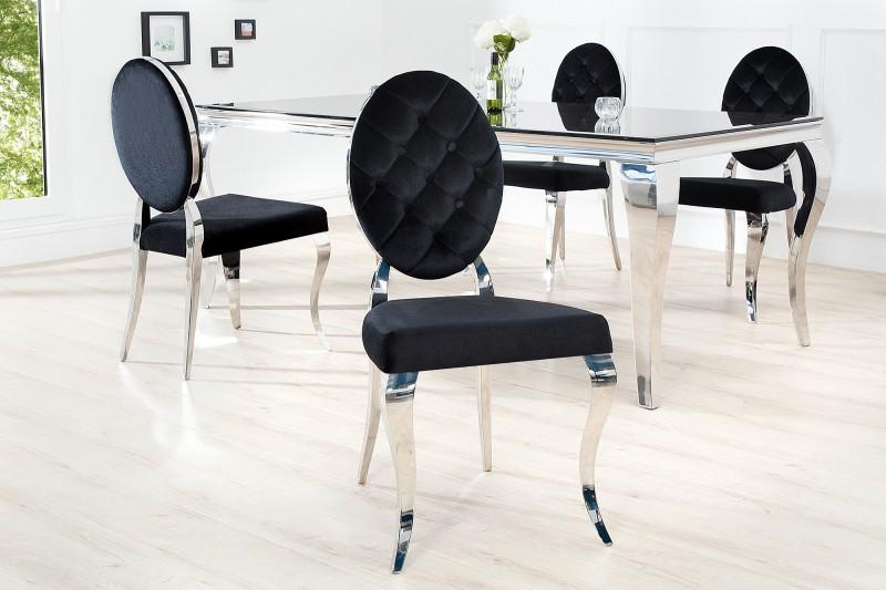 Židle moderní barokní černá / 37354