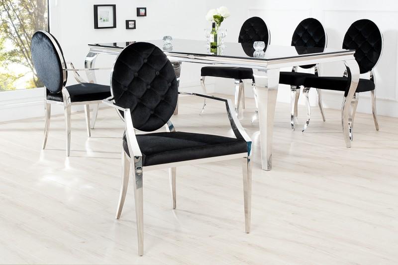Jídelní židle Giacomo III - černá, samet / 37355