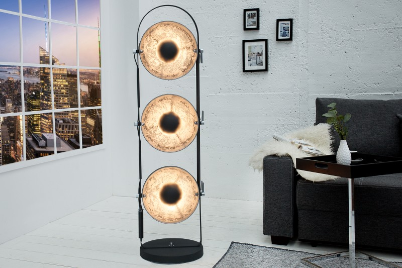 Stojací lampa Hollywood lll - černá, stříbrná /37470