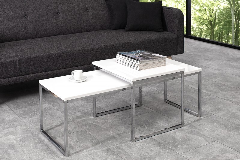Konferenční stolek Juliet 2ks - bílý, chrom / 37734