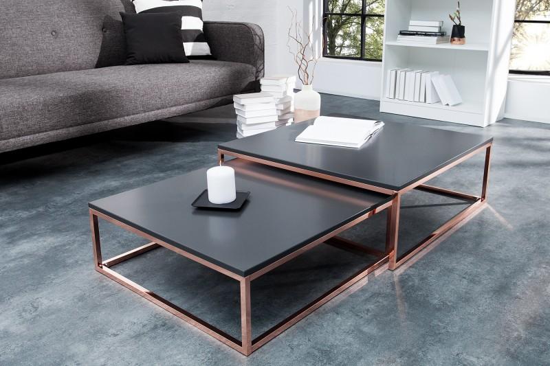 Konferenční stolek - 2ks antracit-  měd / 37733
