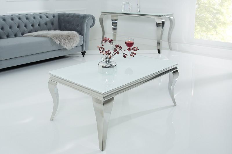 Couchtisch Modern Barock 100cm Weiss Silber 37353 6073