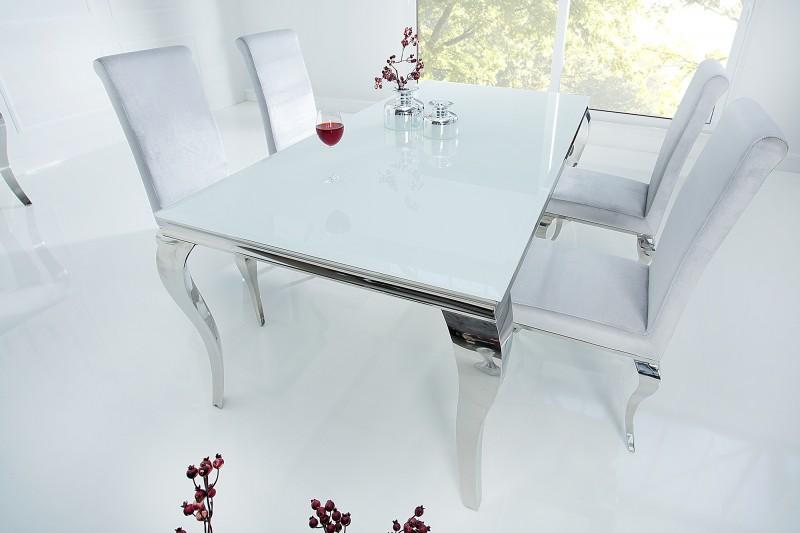 Esstisch Modern Barock 180cm Weiss Silber/ 37903