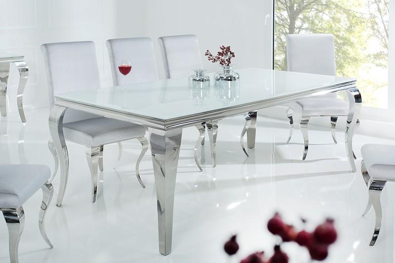Jídelní stůl Modern Baroque 200cm bílá stříbrná / 37904