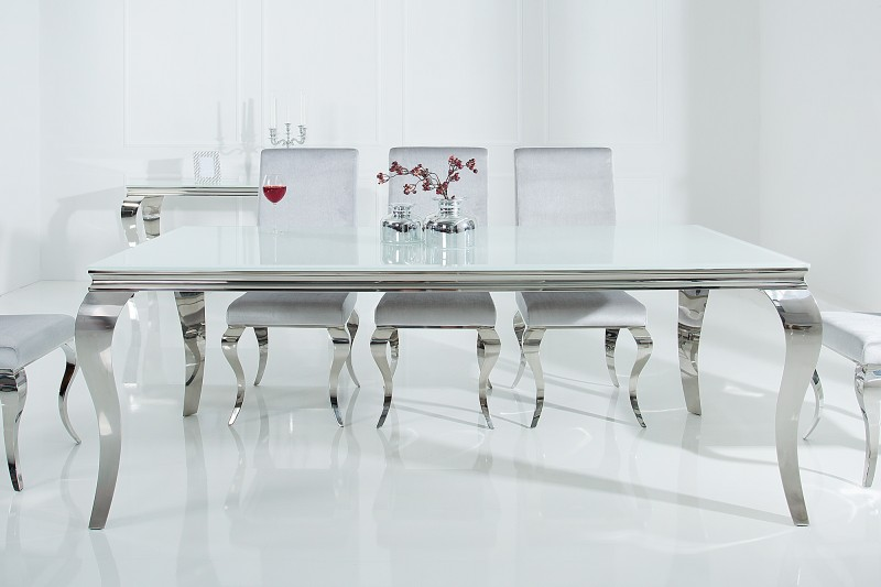 Jídelní stůl Giacomo 200cm x 105cm - bílá, stříbrná / 37904