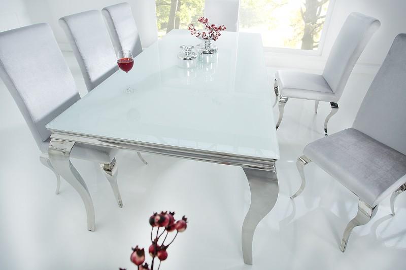 Esstisch Modern Barock 200cm Weiss Silber/ 37904