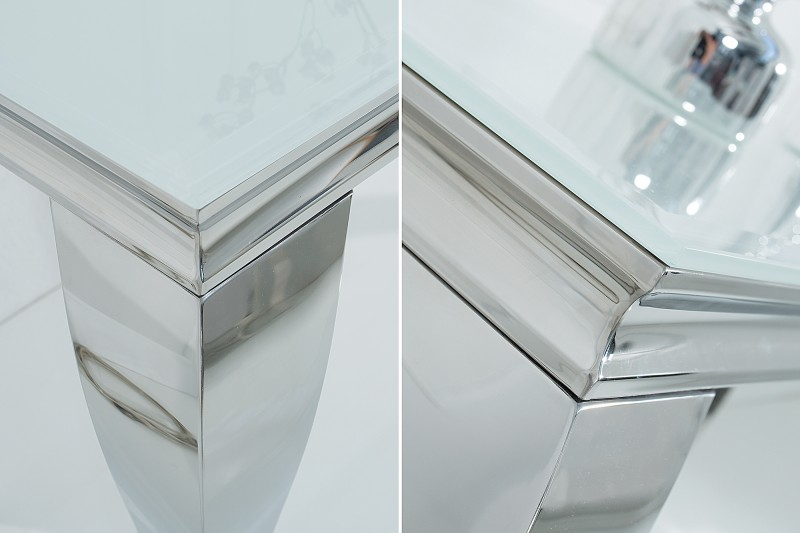 Toaletní stolek Giacomo 140cm x 50cm - bílá, stříbrná / 37905