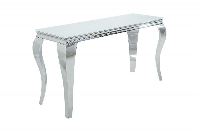Moderní barokní konzole 140cm bílá stříbrná / 37905