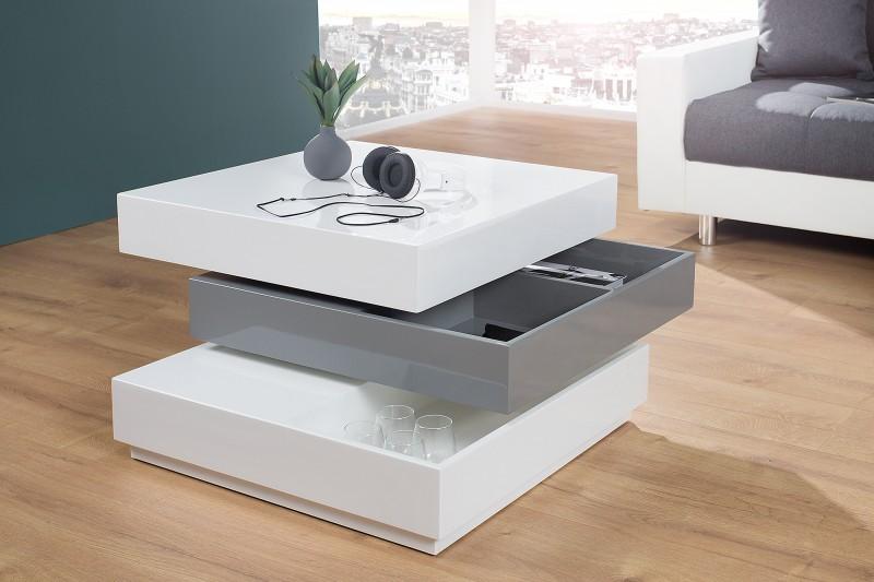 couchtisch multilevel weiss grau drehbar 37662 6009. Black Bedroom Furniture Sets. Home Design Ideas