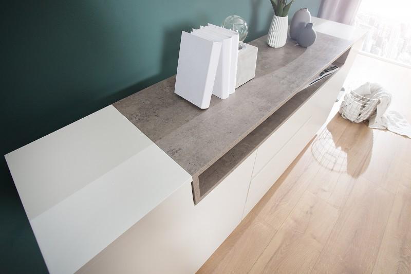 Příborník Loft 180cm x 85cm - bílá, beton / 37532