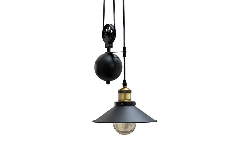 Závěsná lampa Factory - černá, zlatá / 37695