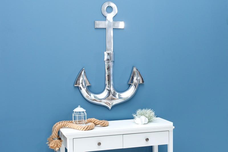 Nástěnná dekorační kotva 90cm stříbrná / 37917