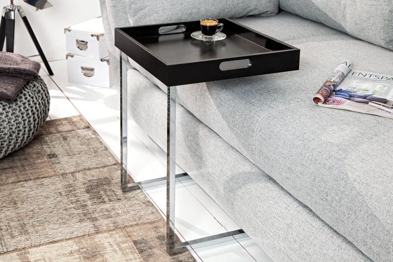 Odkládací stolek Ciano - černá,chrom / 14245