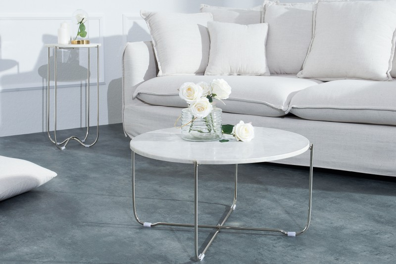 Couchtisch Noble Weiss Marmor Silber 38009 5804