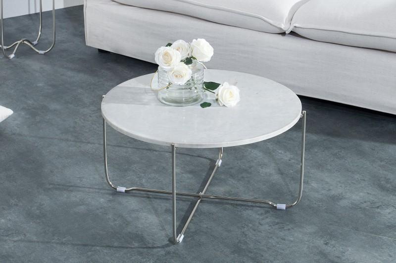 Konferenční stolek Noble bílý mramor stříbrný / 38009