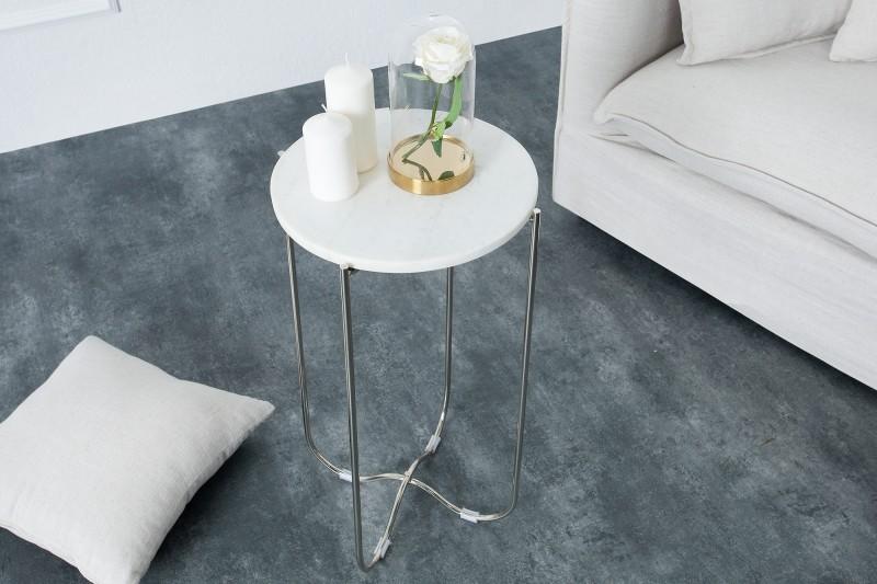 Stolek Adam 35cm x 61cm - bílý mramor, stříbrná  / 38013