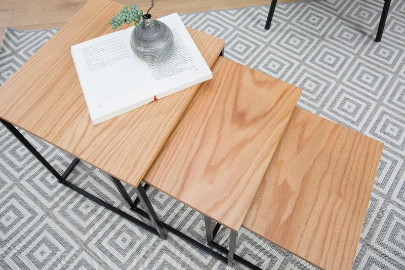 Konferenční stolek Juliet 3ks - dub, černá / 38280