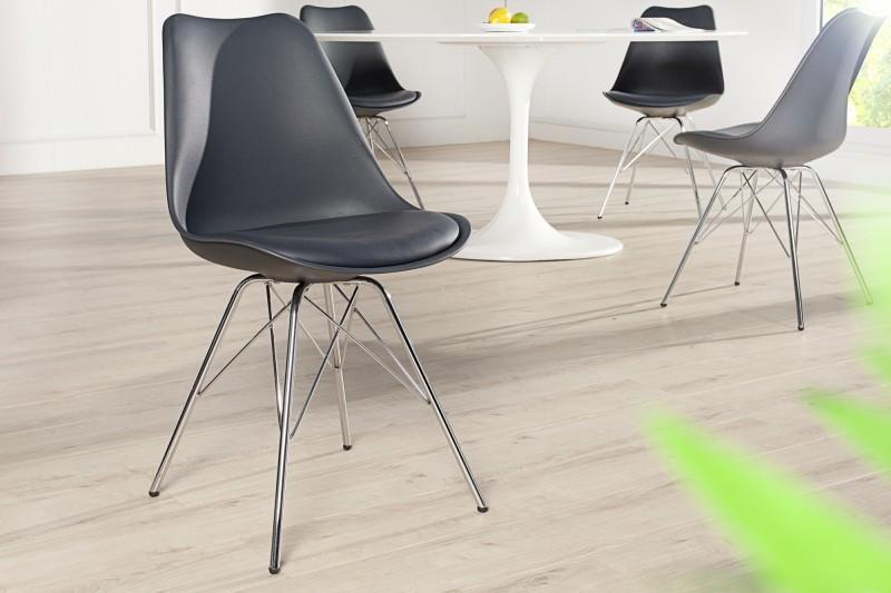 Skandinávská retro židle šedá / 38090