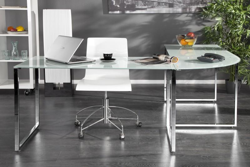 Pracovní stůl Corner Table  - bílé sklo / 38382