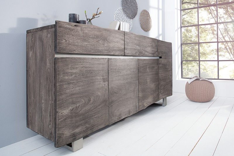 sideboard mammut 170cm grau akazie 37238 6231. Black Bedroom Furniture Sets. Home Design Ideas