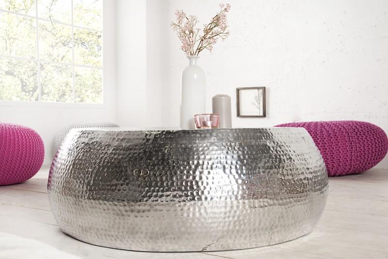 Konferenční stolek Sidon 80cm - stříbrný / 38396