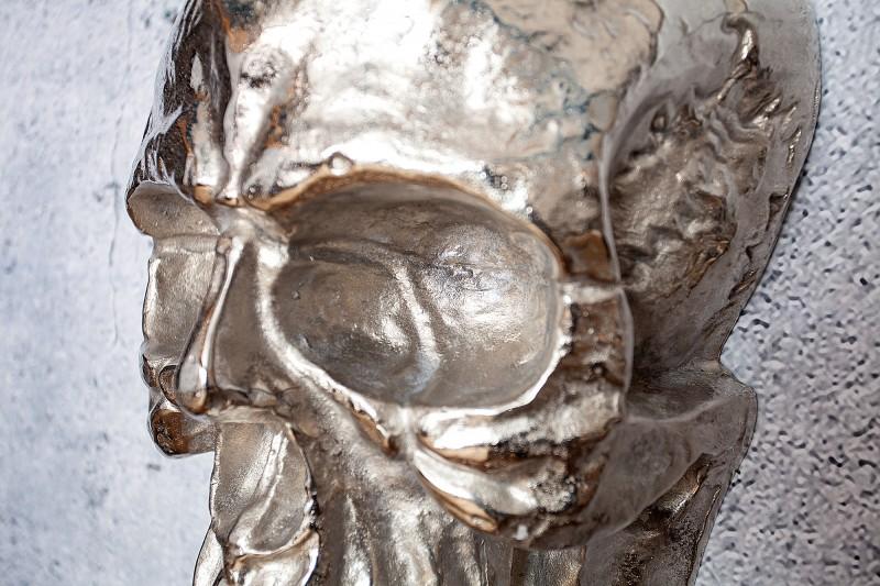 Nástěnná plastika Lebka 40cm stříbrná / 38383