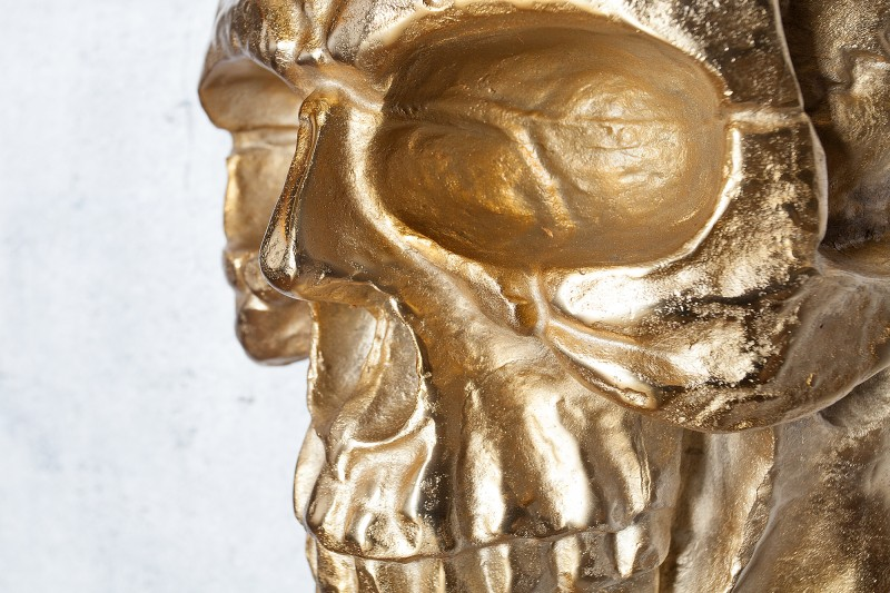 Nástěnná plastika Lebka 40cm zlatá / 38385