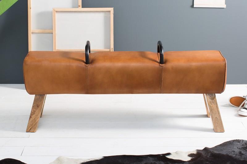 Lavice Bock 134cm x 35cm - světle hnědá kůže / 38481