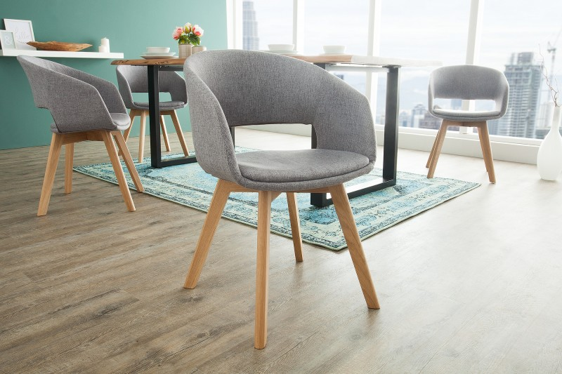 Jídelní židle Viborg - šedá, dub / 38503