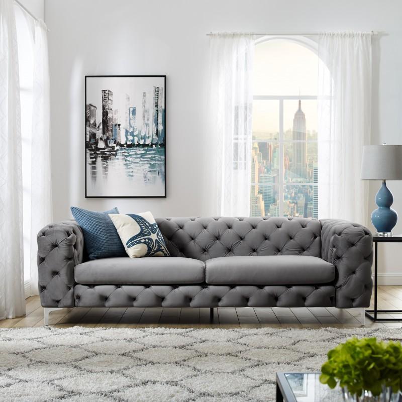 Sofa Modern Barock 238cm grau/ 38714 -6496