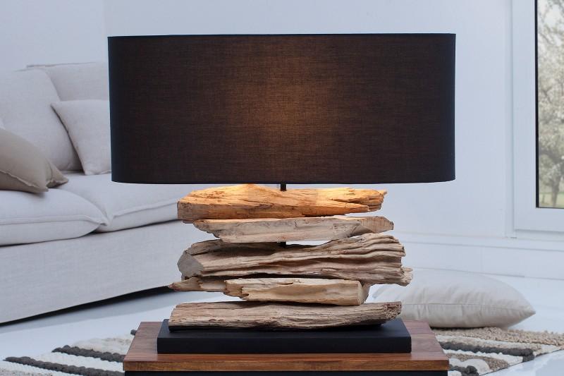 Stolní lampa Riverine II - černá, naplavené dřevo  / 36787