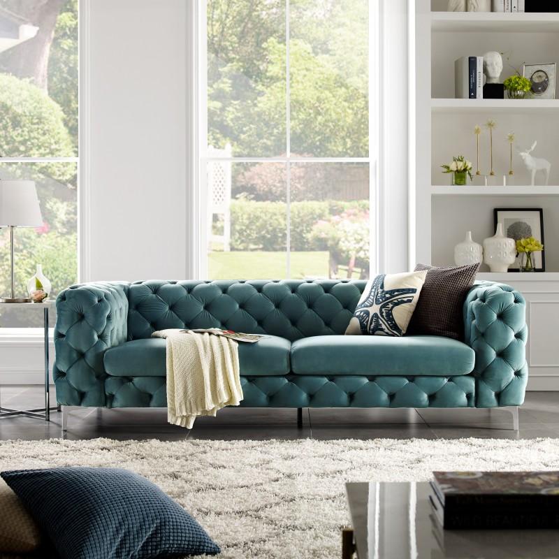 Sofa Modern Barock 238cm aqua/ 38716 -6498